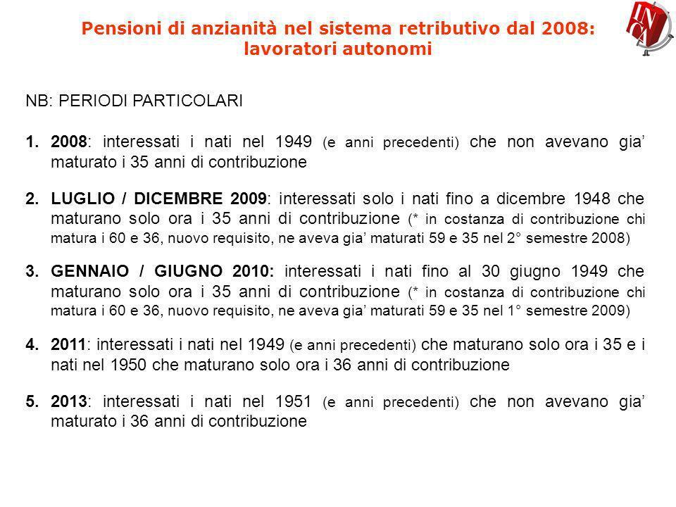 Pensioni di anzianità nel sistema retributivo dal 2008: lavoratori autonomi NB: PERIODI PARTICOLARI 1.2008: interessati i nati nel 1949 (e anni preced