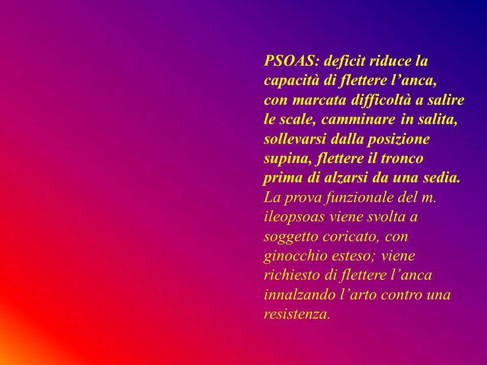PSOAS: deficit riduce la capacità di flettere lanca, con marcata difficoltà a salire le scale, camminare in salita, sollevarsi dalla posizione supina,