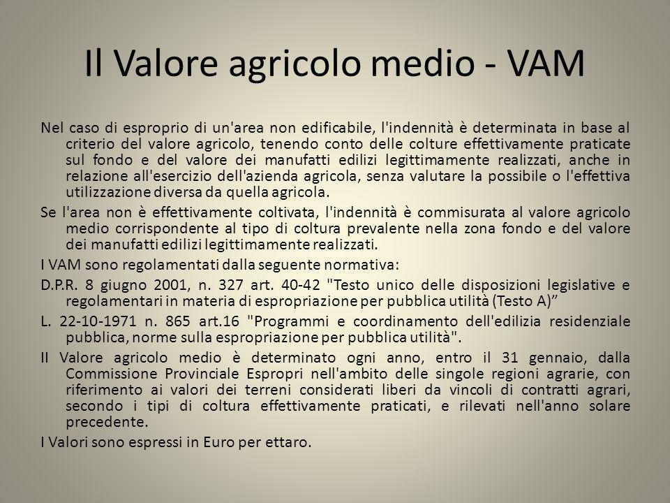 Il Valore agricolo medio - VAM Nel caso di esproprio di un'area non edificabile, l'indennità è determinata in base al criterio del valore agricolo, te