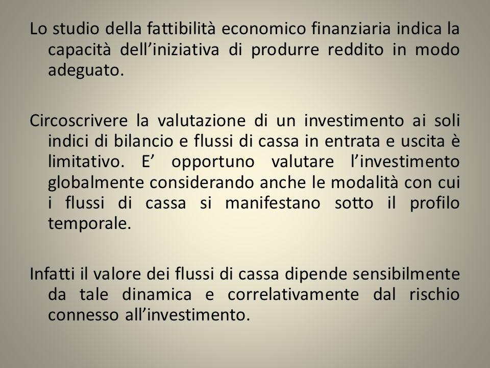 Lo studio della fattibilità economico finanziaria indica la capacità delliniziativa di produrre reddito in modo adeguato. Circoscrivere la valutazione