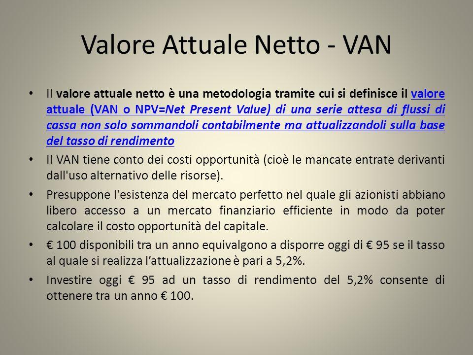 Valore Attuale Netto - VAN Il valore attuale netto è una metodologia tramite cui si definisce il valore attuale (VAN o NPV=Net Present Value) di una s