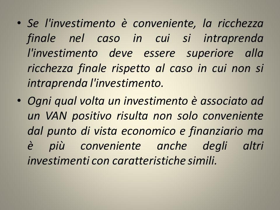 Se l'investimento è conveniente, la ricchezza finale nel caso in cui si intraprenda l'investimento deve essere superiore alla ricchezza finale rispett