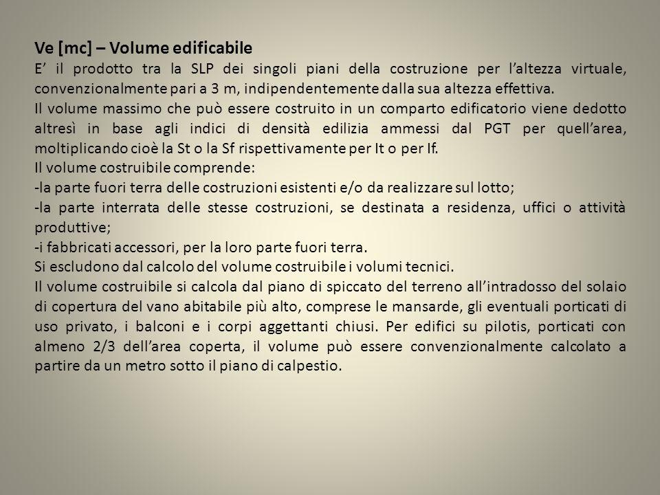 Ve [mc] – Volume edificabile E il prodotto tra la SLP dei singoli piani della costruzione per laltezza virtuale, convenzionalmente pari a 3 m, indipen