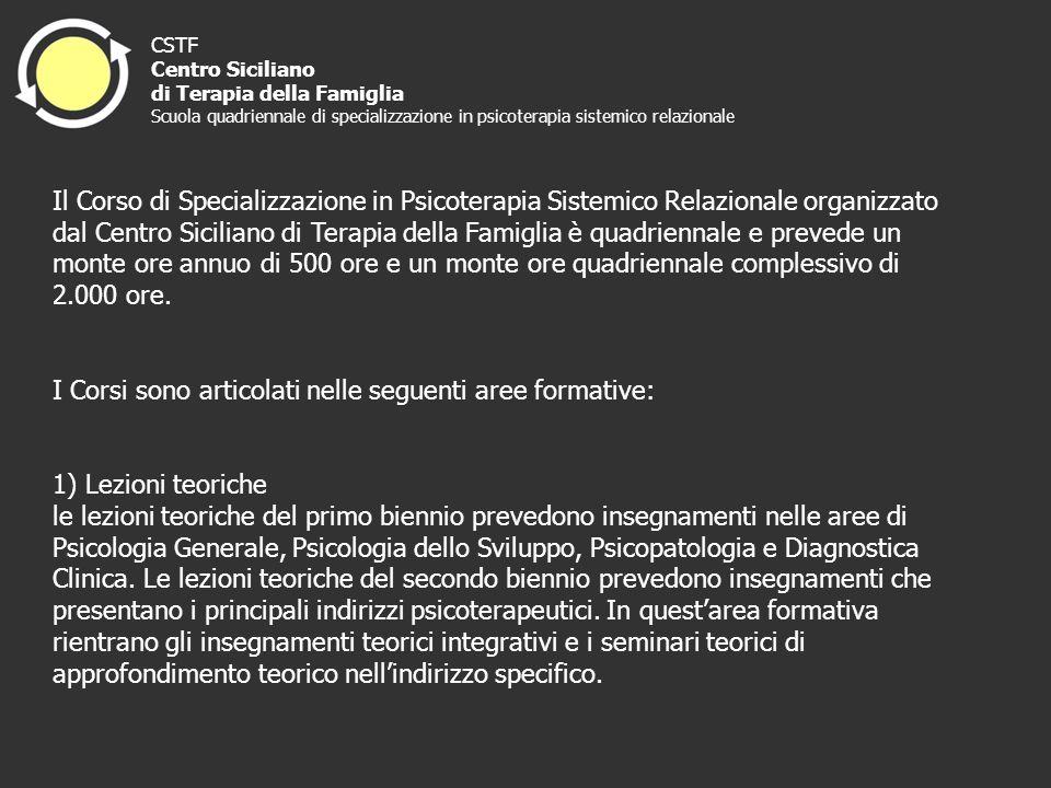 CSTF Centro Siciliano di Terapia della Famiglia Scuola quadriennale di specializzazione in psicoterapia sistemico relazionale Il Corso di Specializzaz