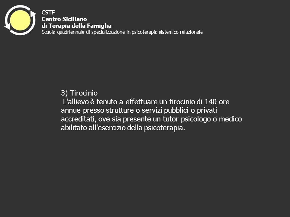 3) Tirocinio L'allievo è tenuto a effettuare un tirocinio di 140 ore annue presso strutture o servizi pubblici o privati accreditati, ove sia presente