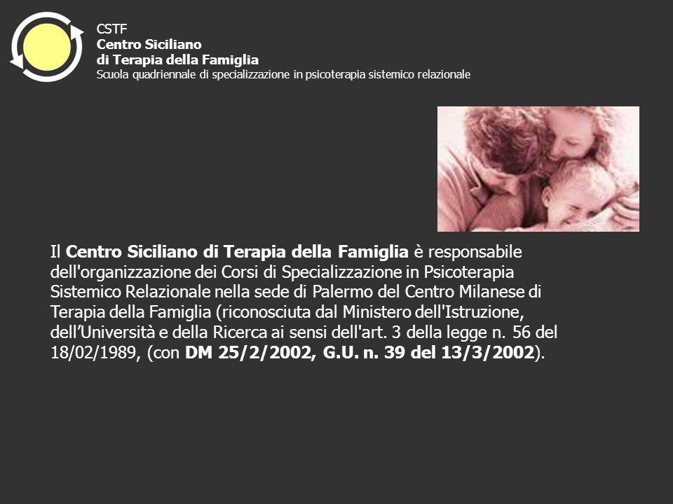 Il Centro Siciliano di Terapia della Famiglia è responsabile dell'organizzazione dei Corsi di Specializzazione in Psicoterapia Sistemico Relazionale n