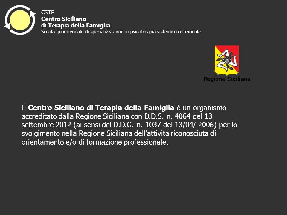 Il Centro Siciliano di Terapia della Famiglia è un organismo accreditato dalla Regione Siciliana con D.D.S. n. 4064 del 13 settembre 2012 (ai sensi de