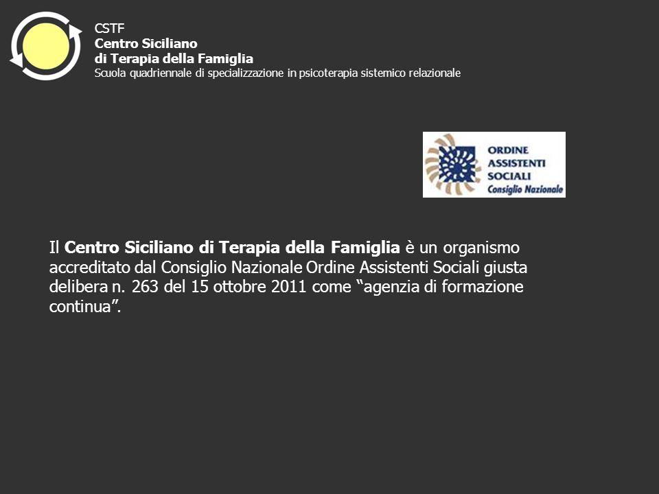 Il Centro Siciliano di Terapia della Famiglia è un organismo accreditato dal Consiglio Nazionale Ordine Assistenti Sociali giusta delibera n. 263 del