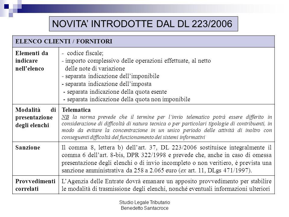 Studio Legale Tributario Benedetto Santacroce NOVITA INTRODOTTE DAL DL 223/2006 ELENCO CLIENTI / FORNITORI Elementi da indicare nellelenco - codice fi