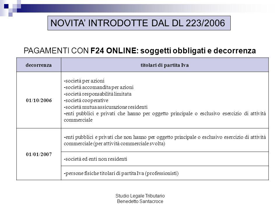 Studio Legale Tributario Benedetto Santacroce NOVITA INTRODOTTE DAL DL 223/2006 PAGAMENTI CON F24 ONLINE: soggetti obbligati e decorrenza decorrenzati