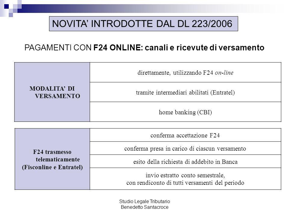 Studio Legale Tributario Benedetto Santacroce NOVITA INTRODOTTE DAL DL 223/2006 PAGAMENTI CON F24 ONLINE: canali e ricevute di versamento MODALITA DI