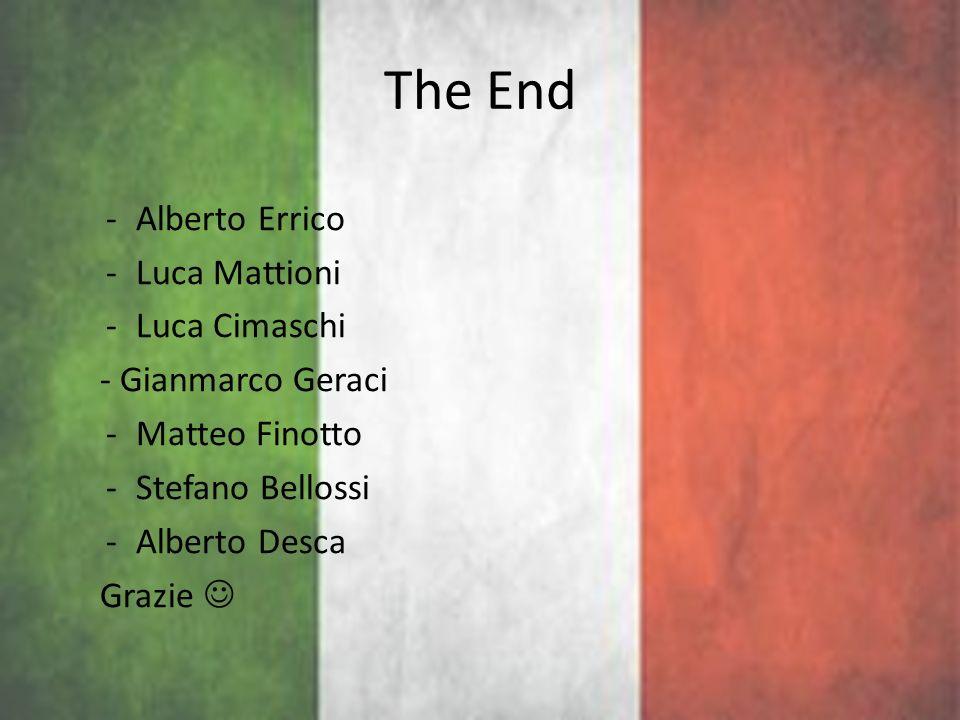 The End -Alberto Errico -Luca Mattioni -Luca Cimaschi - Gianmarco Geraci -Matteo Finotto -Stefano Bellossi -Alberto Desca Grazie
