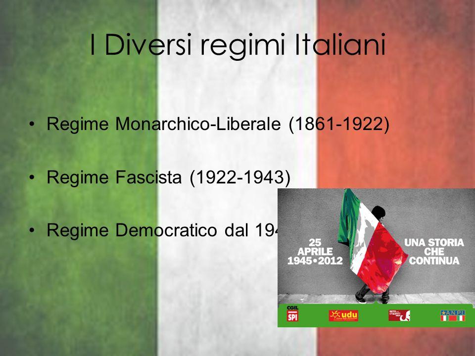 I Diversi regimi Italiani Regime Monarchico-Liberale (1861-1922) Regime Fascista (1922-1943) Regime Democratico dal 1948