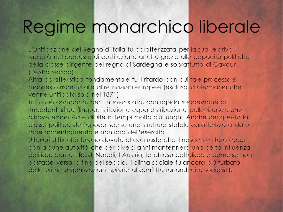 Regime monarchico liberale Lunificazione del Regno dItalia fu caratterizzata per la sua relativa rapidità nel processo di costituzione anche grazie al