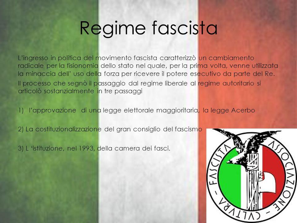 Regime fascista Lingresso in politica del movimento fascista caratterizzò un cambiamento radicale per la fisionomia dello stato nel quale, per la prim