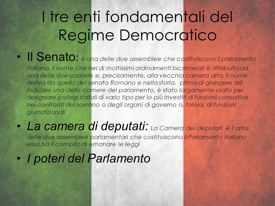 I tre enti fondamentali del Regime Democratico Il Senato : è una delle due assemblee che costituiscono il parlamento italiano, il nome che nel di molt