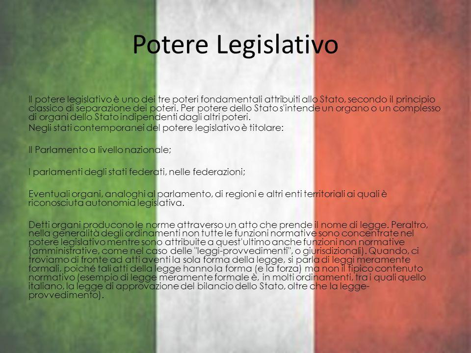 Potere Legislativo Il potere legislativo è uno dei tre poteri fondamentali attribuiti allo Stato, secondo il principio classico di separazione dei pot