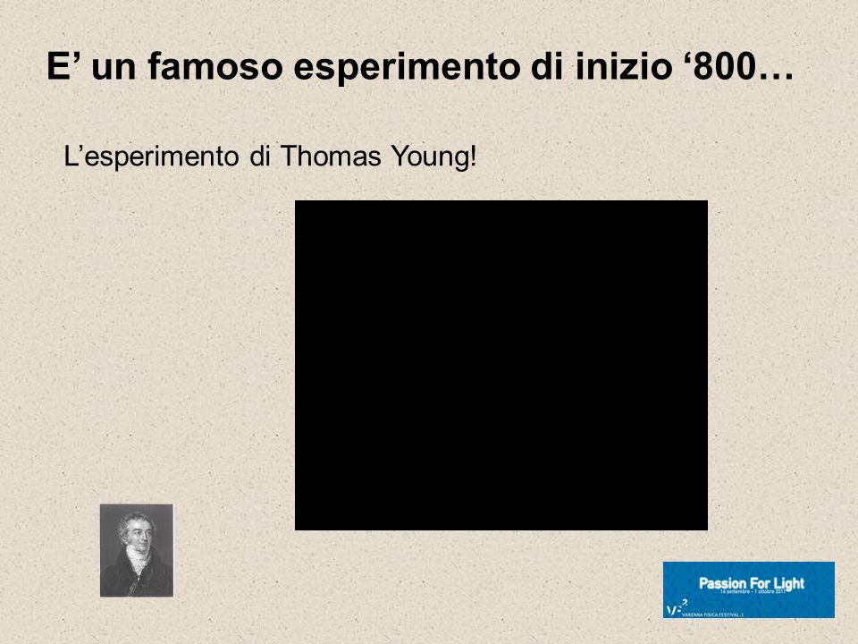 E un famoso esperimento di inizio 800… Lesperimento di Thomas Young!