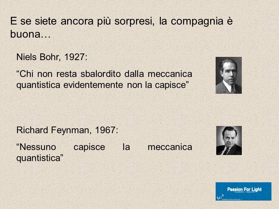 E se siete ancora più sorpresi, la compagnia è buona… Niels Bohr, 1927: Chi non resta sbalordito dalla meccanica quantistica evidentemente non la capi
