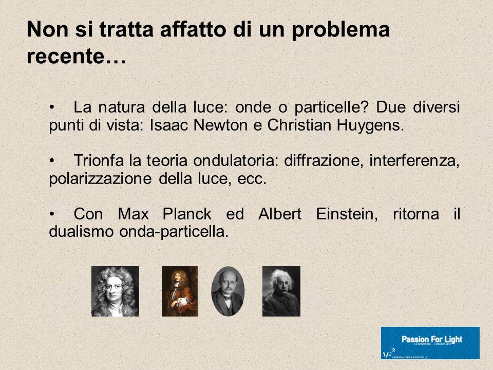 Non si tratta affatto di un problema recente… La natura della luce: onde o particelle? Due diversi punti di vista: Isaac Newton e Christian Huygens. T