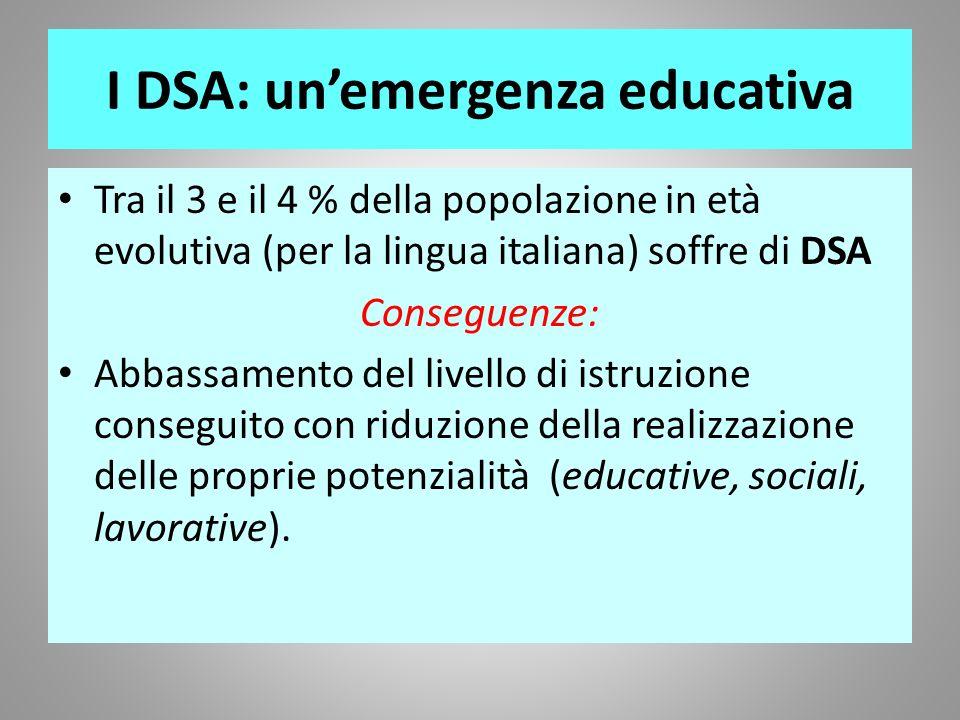 I DSA: unemergenza educativa Tra il 3 e il 4 % della popolazione in età evolutiva (per la lingua italiana) soffre di DSA Conseguenze: Abbassamento del