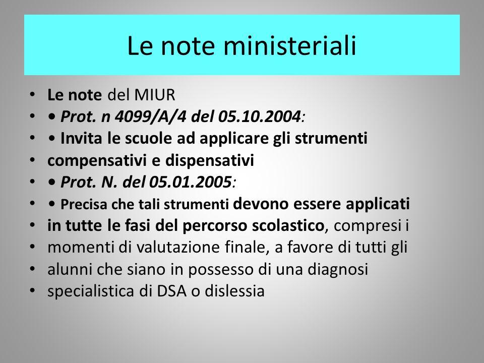 Le note ministeriali Le note del MIUR Prot. n 4099/A/4 del 05.10.2004: Invita le scuole ad applicare gli strumenti compensativi e dispensativi Prot. N