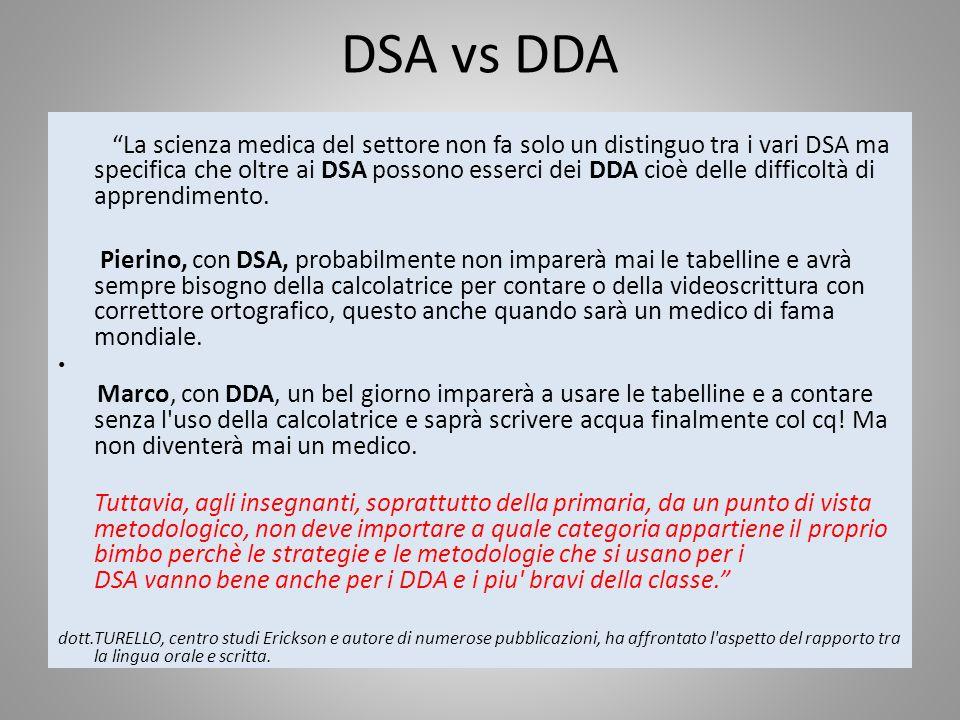 DSA vs DDA La scienza medica del settore non fa solo un distinguo tra i vari DSA ma specifica che oltre ai DSA possono esserci dei DDA cioè delle diff