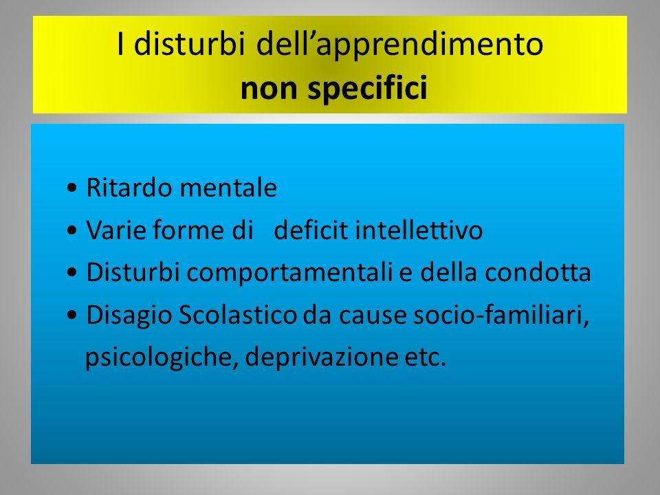I disturbi dellapprendimento non specifici Ritardo mentale Varie forme di deficit intellettivo Disturbi comportamentali e della condotta Disagio Scola