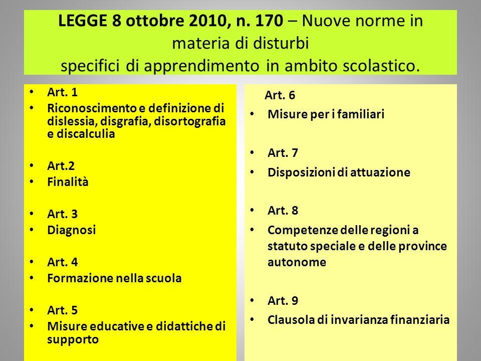 LEGGE 8 ottobre 2010, n. 170 – Nuove norme in materia di disturbi specifici di apprendimento in ambito scolastico. Art. 1 Riconoscimento e definizione