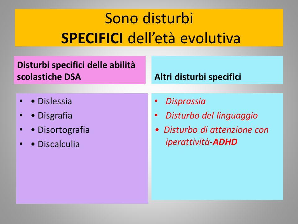 Sono disturbi SPECIFICI delletà evolutiva Disturbi specifici delle abilità scolastiche DSA Dislessia Disgrafia Disortografia Discalculia Altri disturb