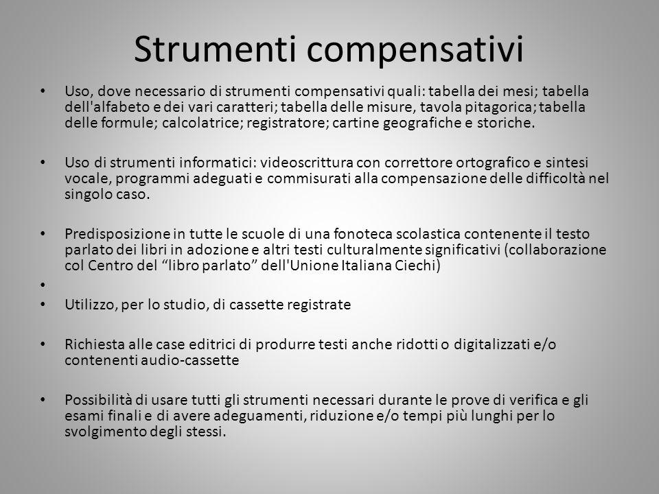 Strumenti compensativi Uso, dove necessario di strumenti compensativi quali: tabella dei mesi; tabella dell'alfabeto e dei vari caratteri; tabella del