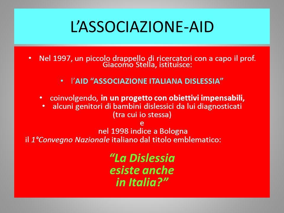 LASSOCIAZIONE-AID Nel 1997, un piccolo drappello di ricercatori con a capo il prof. Giacomo Stella, istituisce: lAID ASSOCIAZIONE ITALIANA DISLESSIA c
