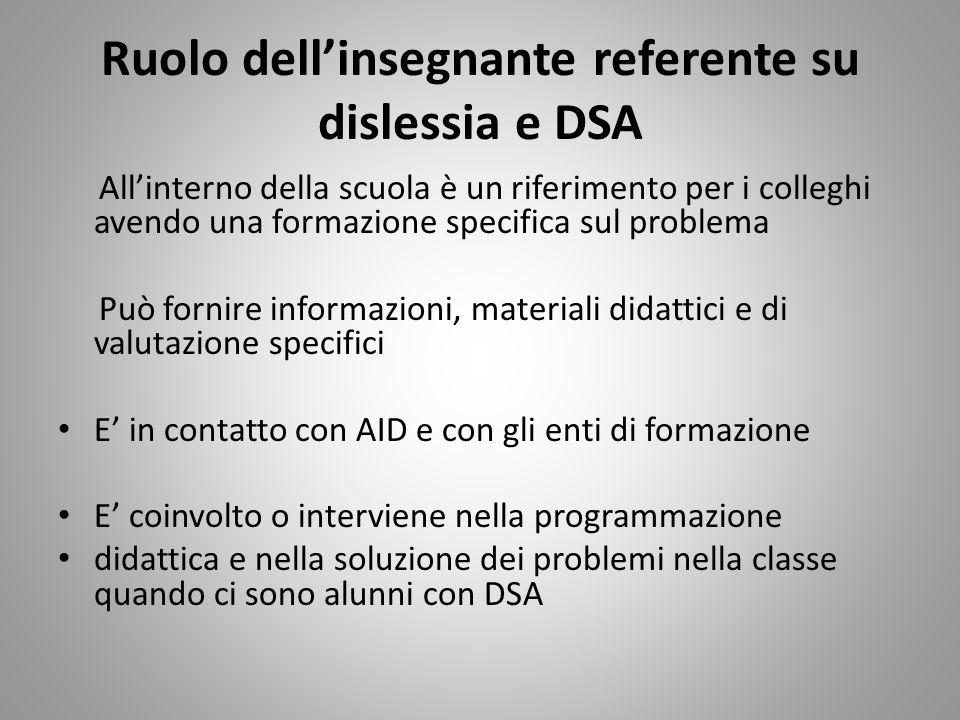 Ruolo dellinsegnante referente su dislessia e DSA Allinterno della scuola è un riferimento per i colleghi avendo una formazione specifica sul problema