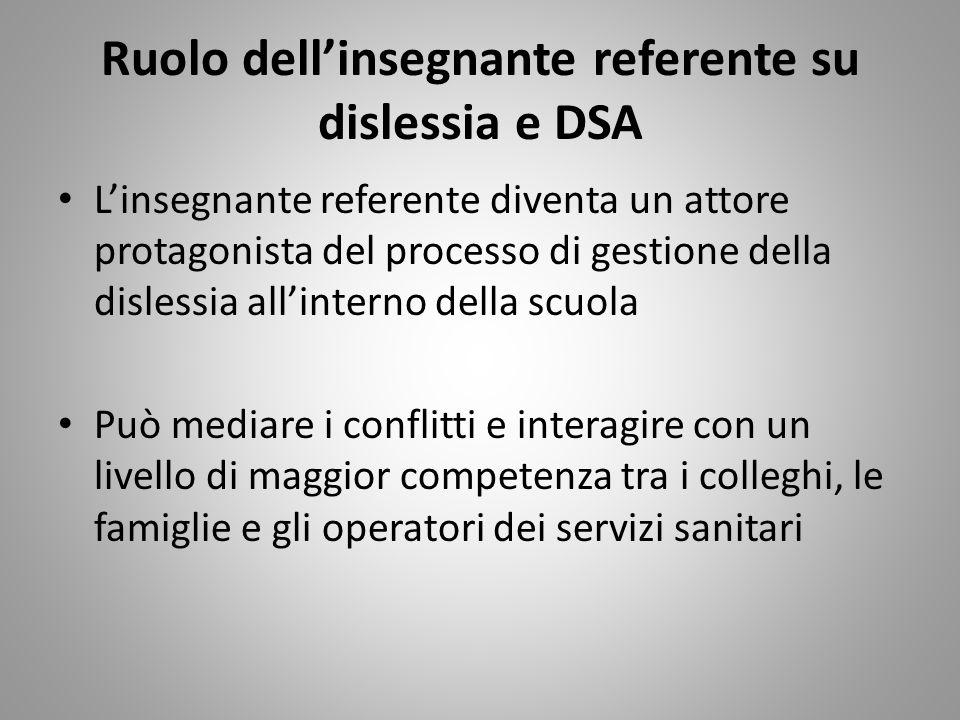 Ruolo dellinsegnante referente su dislessia e DSA Linsegnante referente diventa un attore protagonista del processo di gestione della dislessia allint