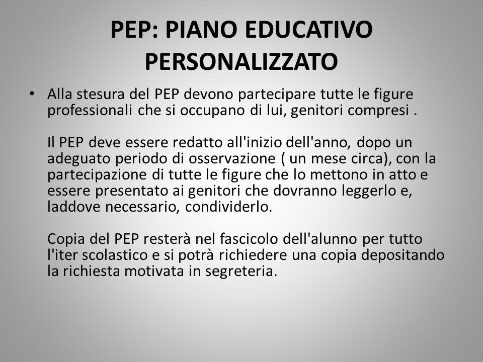 PEP: PIANO EDUCATIVO PERSONALIZZATO Alla stesura del PEP devono partecipare tutte le figure professionali che si occupano di lui, genitori compresi. I