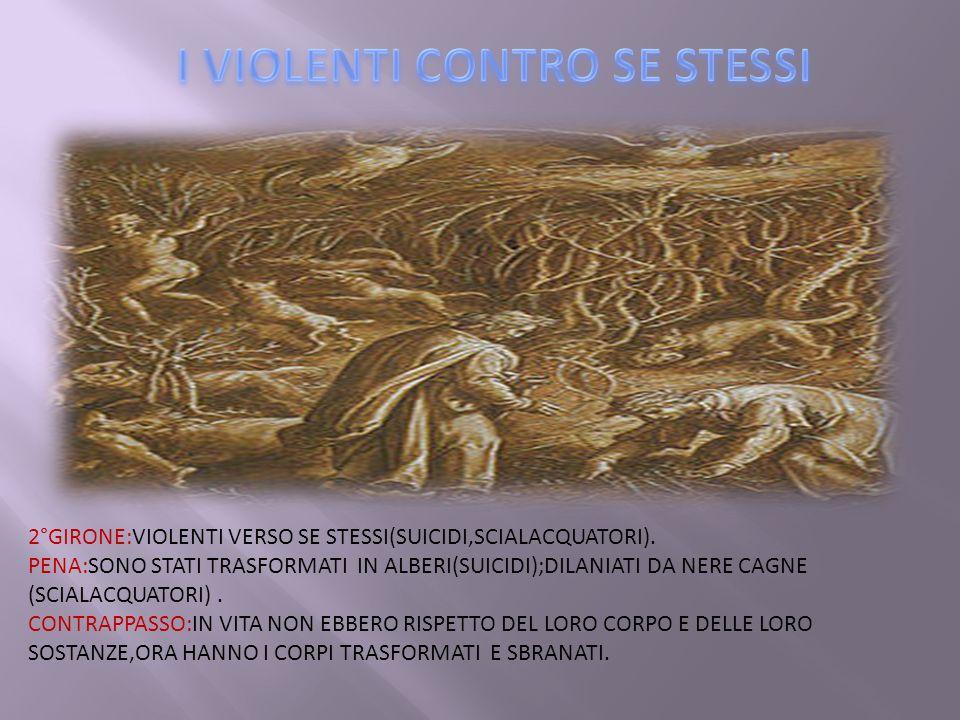 2°GIRONE:VIOLENTI VERSO SE STESSI(SUICIDI,SCIALACQUATORI).