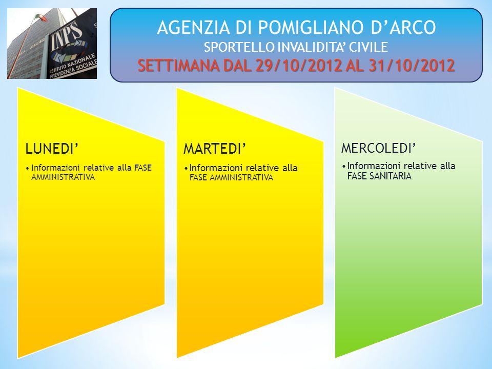 LUNEDI Informazioni relative alla FASE AMMINISTRATIVA MARTEDI Informazioni relative alla FASE AMMINISTRATIVA MERCOLEDI Informazioni relative alla FASE SANITARIA AGENZIA DI POMIGLIANO DARCO SPORTELLO INVALIDITA CIVILE SETTIMANA DAL 29/10/2012 AL 31/10/2012