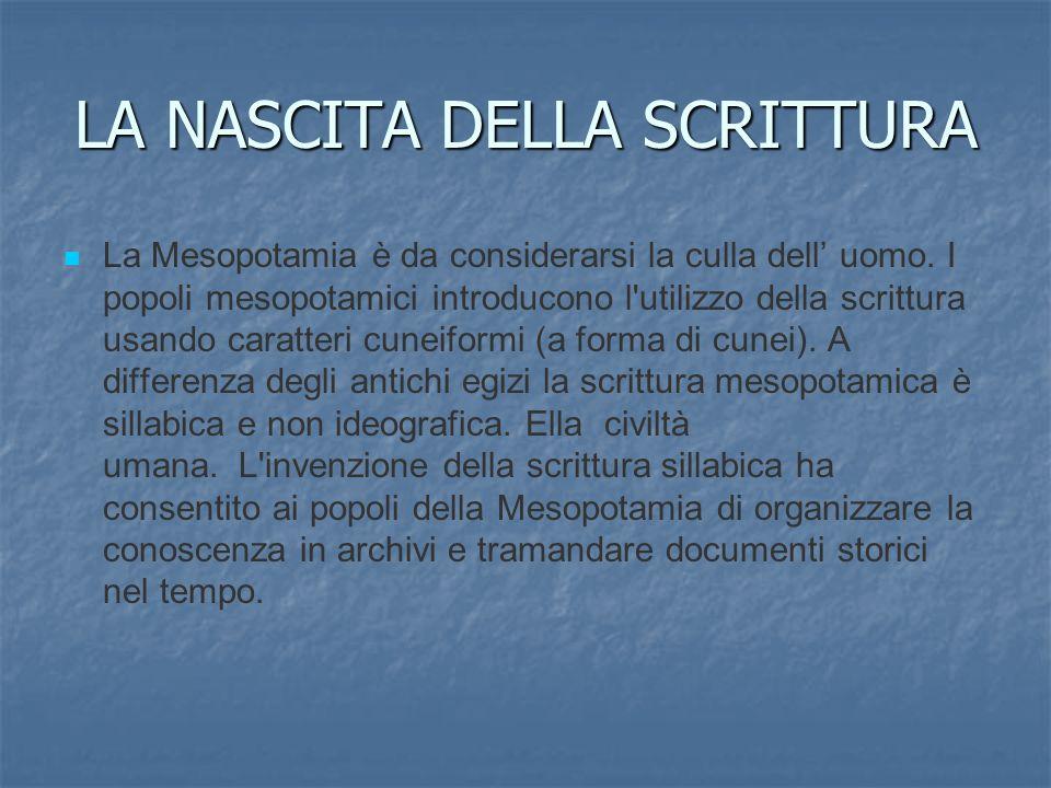 LA NASCITA DELLA SCRITTURA La Mesopotamia è da considerarsi la culla dell uomo. I popoli mesopotamici introducono l'utilizzo della scrittura usando ca