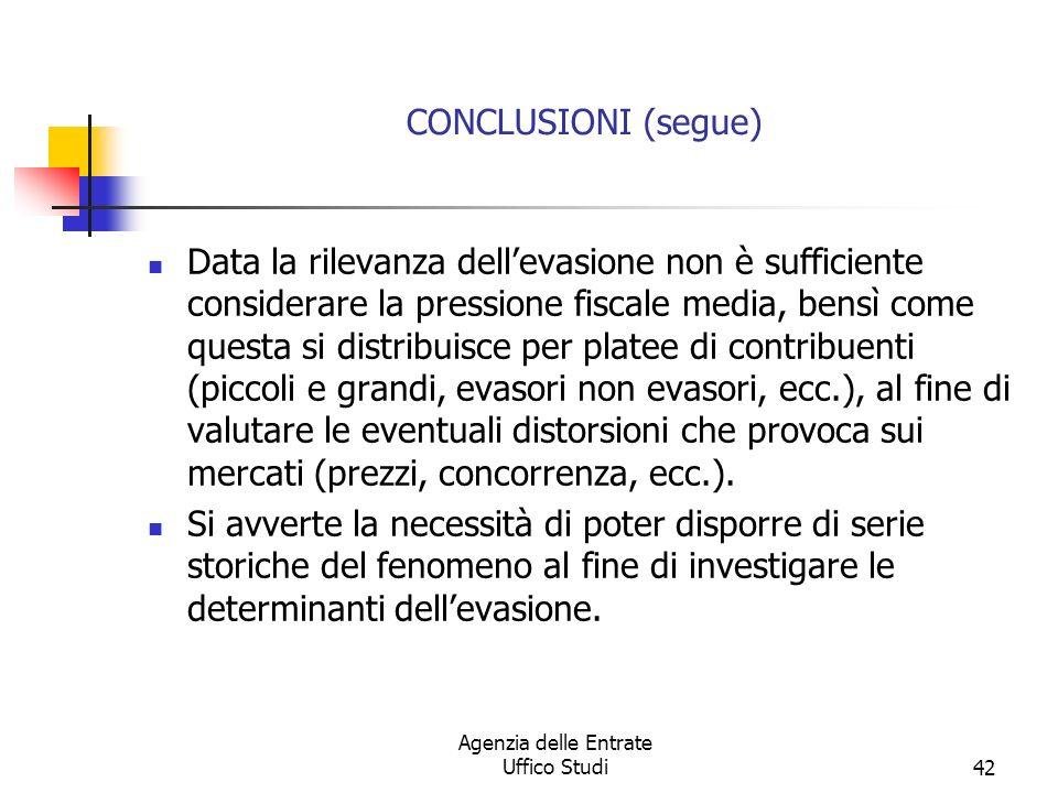 Agenzia delle Entrate Uffico Studi41 CONCLUSIONI Tutti gli studi concordano nellaffermare che levasione è un fenomeno importante e che esiste uno specifico italiano allinterno dei paesi maggiormente sviluppati.