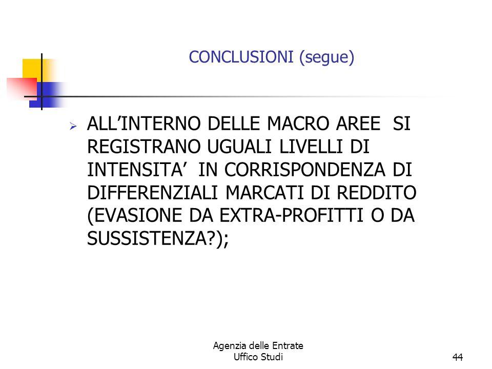 Agenzia delle Entrate Uffico Studi43 CONCLUSIONI (segue) LENTITA DELLEVASIONE E PREVALENTE AL SUD SEGUITO DAL N.