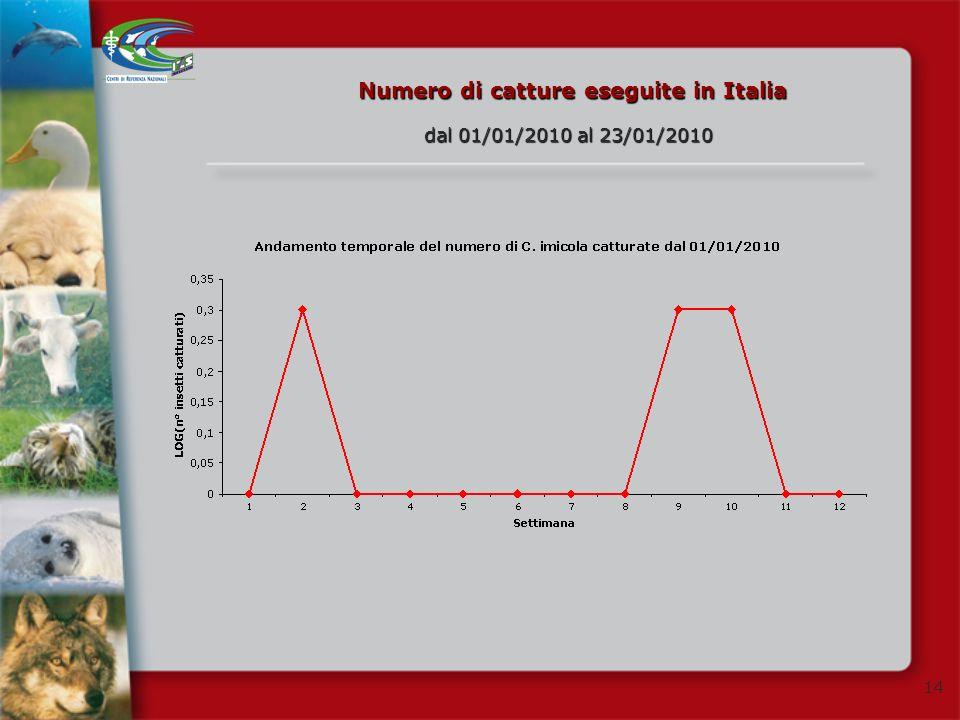 14 Numero di catture eseguite in Italia dal 01/01/2010 al 23/01/2010