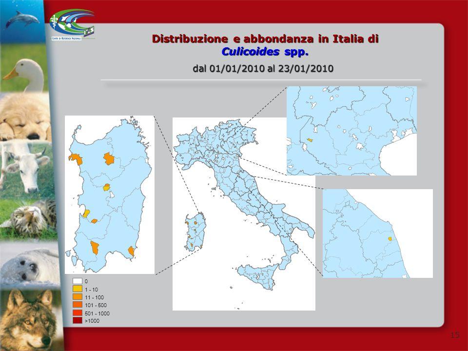 15 Distribuzione e abbondanza in Italia di Culicoides spp. 0 1 - 10 11 - 100 101 - 500 501 - 1000 >1000 dal 01/01/2010 al 23/01/2010