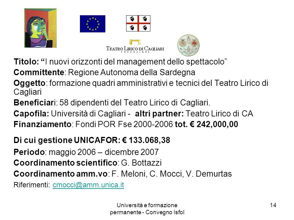 Università e formazione permanente - Convegno Isfol 14 Titolo: I nuovi orizzonti del management dello spettacolo Committente: Regione Autonoma della S