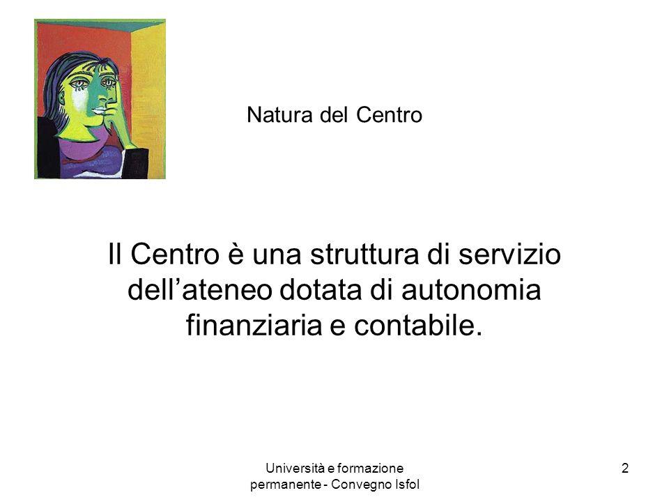 Università e formazione permanente - Convegno Isfol 2 Natura del Centro Il Centro è una struttura di servizio dellateneo dotata di autonomia finanziar