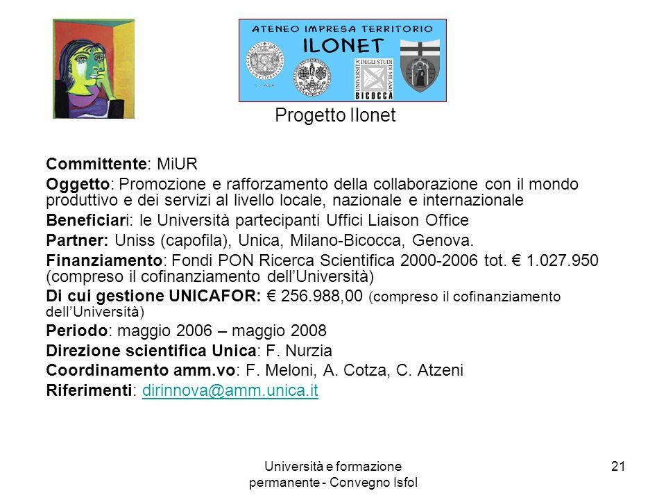 Università e formazione permanente - Convegno Isfol 21 Progetto Ilonet Committente: MiUR Oggetto: Promozione e rafforzamento della collaborazione con