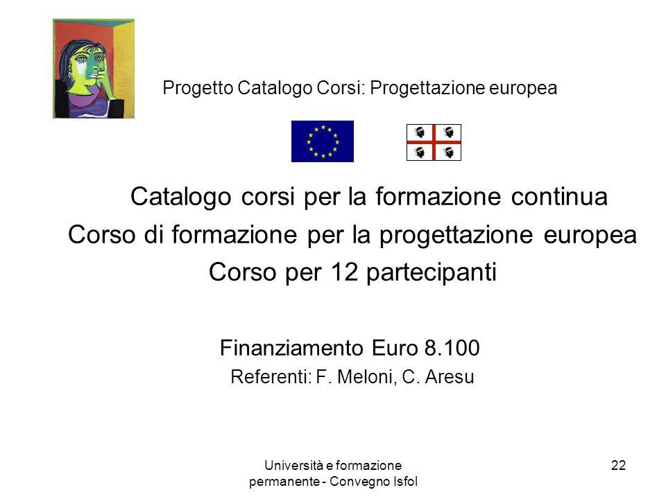 Università e formazione permanente - Convegno Isfol 22 Progetto Catalogo Corsi: Progettazione europea Catalogo corsi per la formazione continua Corso