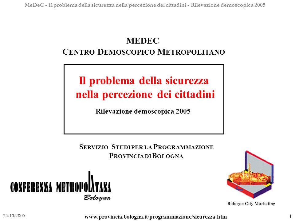 MeDeC - Il problema della sicurezza nella percezione dei cittadini - Rilevazione demoscopica 2005 2 25/10/2005 1.