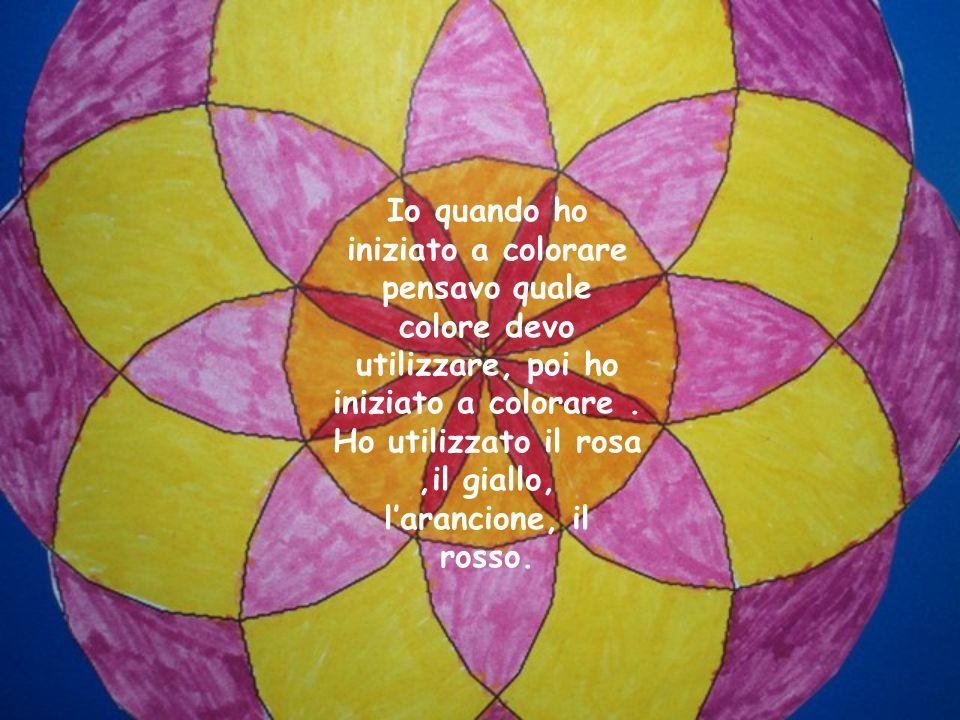Io quando ho iniziato a colorare pensavo quale colore devo utilizzare, poi ho iniziato a colorare. Ho utilizzato il rosa,il giallo, larancione, il ros