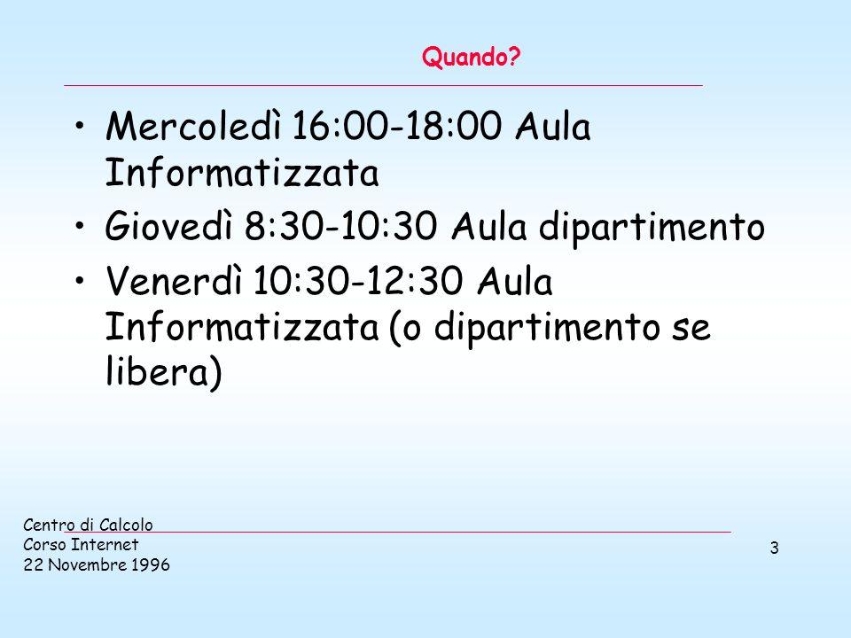 Centro di Calcolo Corso Internet 22 Novembre 1996 4 Obbiettivi formativi del corso Il linguaggio!.