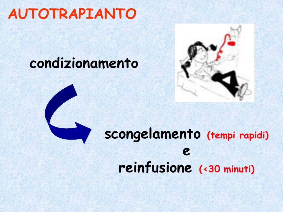AUTOTRAPIANTO condizionamento scongelamento (tempi rapidi) e reinfusione (<30 minuti)